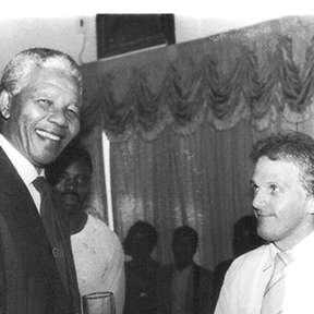 Dave Savides, Editor in Chief at  Zululand Observer with Nelson Mandela.