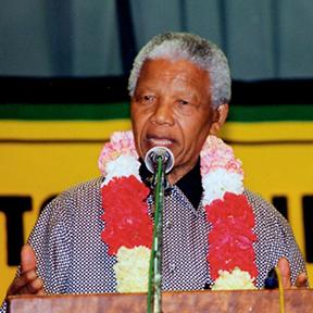 Nelson Mandela at the Gandhi Hall Photo: Ahmed Kathrada Foundation