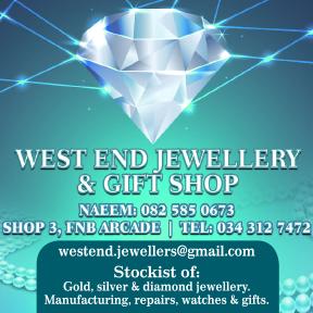 West End Jewellery Tel: 034 312 7472