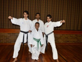 Karate kids: Trisha Rajkumar (22) took a bronze medal in kumite (fighting) while little Luyanda Mbonani (8) took silver in both the kumite and kata (set format) categories. Sixteen-year-old Jyothi Balasar competed as did their sensei (coach), Vishen Bhoonpersh