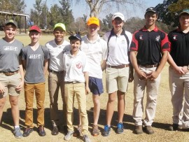 DHS golfers - Duane Lourens, Joshua Donaldson, Lwandile Mdladla, Preston Caldecot, Keagan Donaldson, Janco Kotze, Dylan Mare and Ronnie Mulligan.