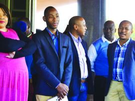 Endumeni Council Speaker, Bongiwe Mbatha and Mayor Siboniso Richard  Mbatha with acting municipal manager, Mr Silinga and Technical Service Manager, Cindi.