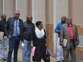 ANC Councillors leave the Municipal building.