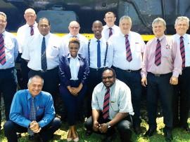 Back Row: Derek Cooper, Fanie Marais, Pravin Chetty, Bob Bentley, Cebo Khumalo, Kevern Mattison, Harry Jennings, Kobus Van Jaarsveld and Dougie Franklin. Front Row: Dup du Plessis, Hlengiwe Mseleku and Daniel Nthotso.