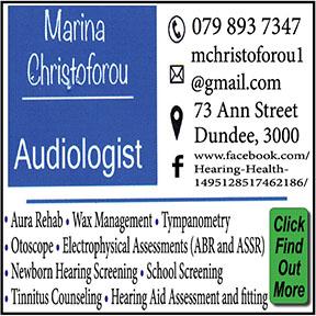 Marina Christoforou Audiologist Tel: 079-893-7347