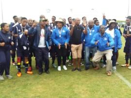 uThukela Deputy Mayor Cllr N Sibiya with the team in jubilant mood.