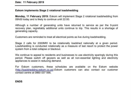 Eskom implements Stage 2 load-shedding for today   Ladysmith