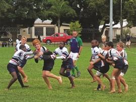 Jan-Rick Swart in aksie tydens LMS-Rugbyweek.