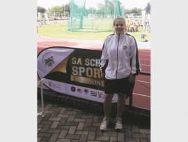 Zandri Meyer tydens haar deelname aan die SA-Atletiekbyeenkoms.