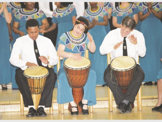 Multi-talented members of the KZN Midlands Youth Choir added a beat to the performance.