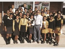 The Victory Gospel team with Mr BI Mthethwa(Principal), Miss Mamlakhe (Sport Chairperson), Mrs CG Zuma, Mrs PN Nkabi-Giwu, Mr MP Khoza (Choir- Master) and Mrs S Mtshali( SGB Chairperson).
