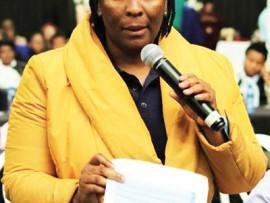 UThukela District Mayor Dudu Mazibuko tabling the budget.