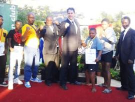 From left: Lindokuhle Khumalo, Simingaye Vilakazi, Si Hang Ian Xulu, Master Qholosha, President of  SA Wushu Jurgens Lamprecht, Lwethu Mabaso, Phelelani Hadebe and Musa Mahlaba at the South African Wushu Warriors Open Championships.