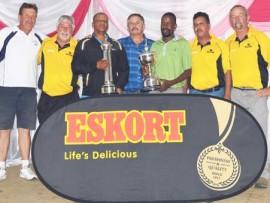George van Niekerk, Owen McLuckie, Wynand Nel, Ajeesh Lalparsad and Bunn Hamman with the Estcourt Open winners Mark Nero (B Division) and Lindilani Ndwandwe (A Division).