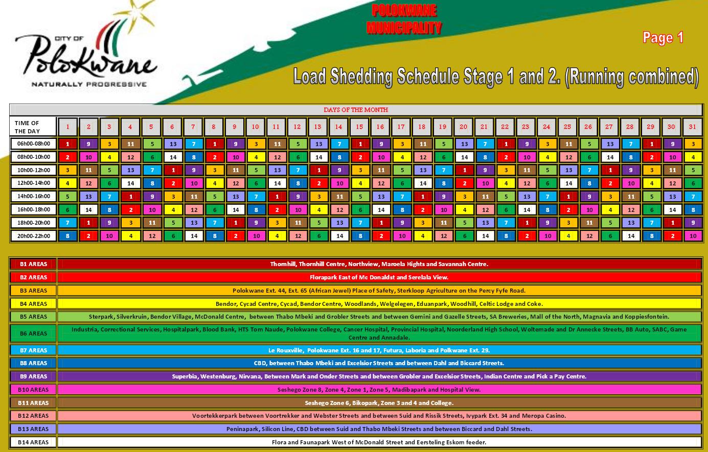 Load Shedding Schedule Eskom Wallpaper: Eskom Load Shedding Stage 1 From 11:00