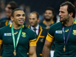 The South African team make a lap of honour after winning the bronze medal during the IRB RWC 2015 – Bronze Medal Match between Argentina v South Africa. - Image by © Paul Cunningham/Corbis