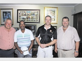 Piet Bronkhorst (third place winner), Pat Molepo (second place winner), Pieter Meiring (Review, sales manager) and  Llewellyn Prenzler (first place winner) at the Polokwane Golf Club.