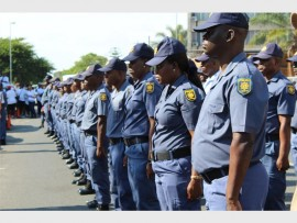 Police officers on parade during a provincial celebration of National Police Day in Polokwane on Wednesday.