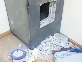 A safe that was broken into at a school in the city show that thieves had a lot of time to grind open the safe.