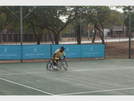 South African Fifth Seed and local player Donald Ramphadi in action at the ACSA Polokwane Open at the Polokwane Tennis Club.