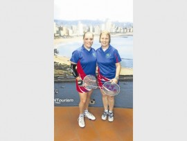 Olga Joubert with her doubles partner, Leoné Potgieter. They won a silver medal at the Police Badminton Championship.