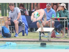 Dylan Catto of Curro Heuwelkruin dives for his attempt for gold  during the boys u/16 50m freestyle at the Limpopo Top 10 Schools swimming competition.