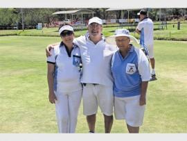 Gloria Schoeman, Mervin Osborne and Louisa du Bruyn  having fun at the Polokwane Bowls club during a singles game.