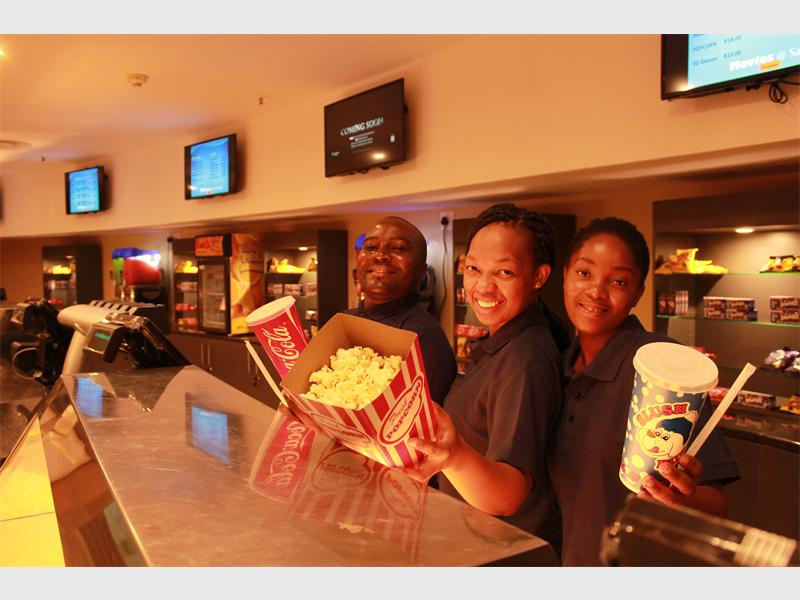 Movies @ Savannah are ready for movie-goers. Here are cashiers Lisbon Seroto, Kabelo Ledwaba and Moora Malahlela.