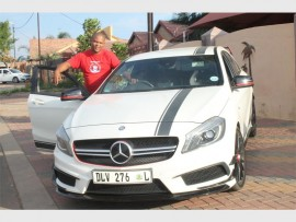 Melvin Stevens with his Mercedes A45 AMG Turbo, a car he will replace only with an upgraded version.