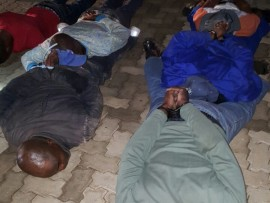 Police received a tip-off from residents about this group of suspects on their way to commit business robbery in the Burgersfort area on Saturday evening. Photos: Limpopo Police