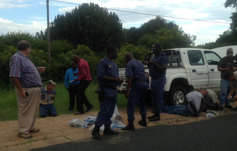 The three suspects face a charge of illegal possession of protected species, says the police. Photo: Limpopo Police