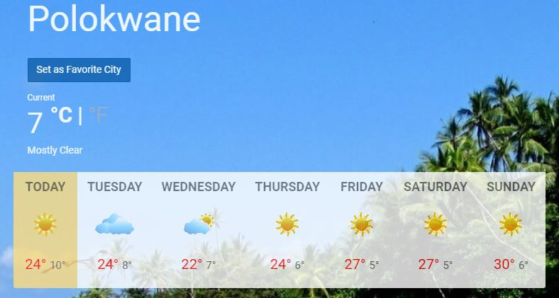 Mild temperatures expected in Polokwane this week, weekend ...