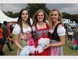 Kim Kruger, Christine Ammon and Julia Trummer say that the best part of the Schulbasar, is wearing the Dirndl, traditional German dresses.