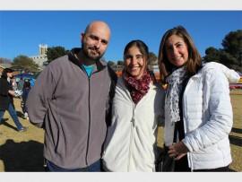 Micheal da Silva, Mandy da Silva and Caron Abbott attend the Soap Box Derby.