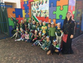 Children of Pinnochio Nursery School are jovial as they celebrate South Africa the best way they know how. Photo supplied.