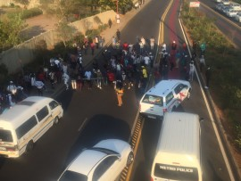 Violence erupted outside UJ, as students held a #FeesMustFall protest. Photo: UJ Kingsway SRC on Twitter.