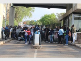 Students block the entrance to Wits University on the first day of the protest.