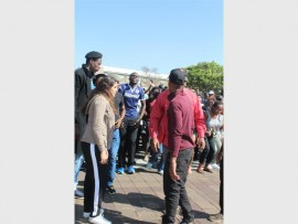 Students march at Wits University's main campus.