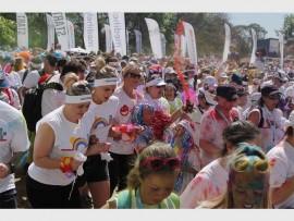 Runners start off the race.
