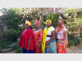 Lydia Rampuane, Lydia Mthembu, Sophy Ngcobo and Dumisile Ndlovu, staff at De La Salle Holy Cross College Junior School in their beautiful traditional outfits.
