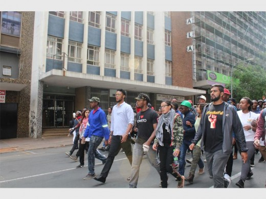 Wits student leaders lead a march through the streets. Photo: File.