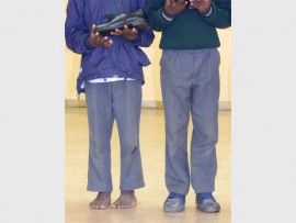 These are two of Thobela FM beneficiaries who received new pair of school shoes.