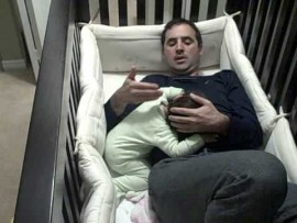 Baby wont let daddy leave her crib