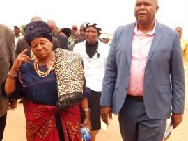 Kgoshigadi Mahlako Mphahlele, CDM Speaker, Nakedi Lekganyane, and CDM Mayor, John Mpe, arrive at the municipal imbizo.