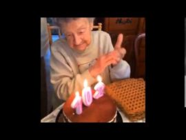Grandma blows out dentures whilst trying to blow out candles on birthday cake
