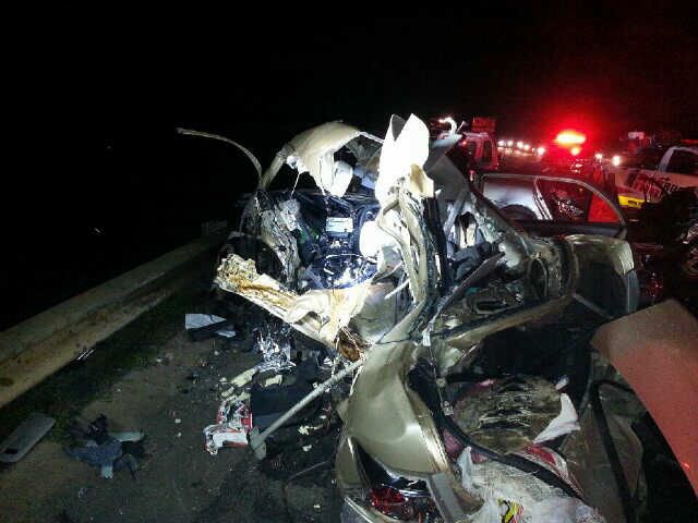 The vehicles were crumpled in the aftermath of the accident.