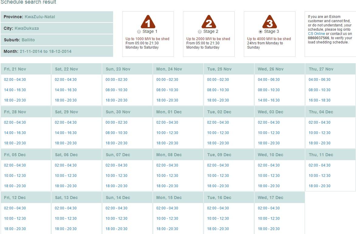 Eskom Load Shedding Schedule Picture: Ballito's Load Shedding Schedule