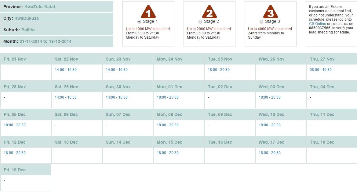 Eskom Load Shedding Schedule: Ballito's Load Shedding Schedule