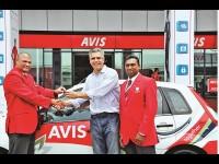 Avis King Shaka International airport  manager, Alton Sharneck handing over the keys to Ilembe chamber CEO Cobus Oelofse with Avis KZN regional manager Allan Chellan (right).