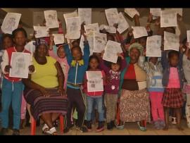 The children of Velani township with Bukiwe Ndzala and Zandile Mdluli.